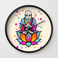 buddha Wall Clocks featuring BUDDHA by mark ashkenazi