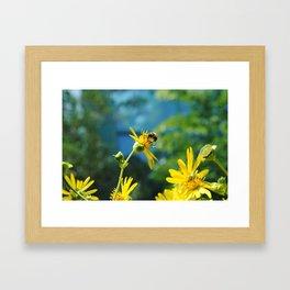 Bees on a Flower Framed Art Print