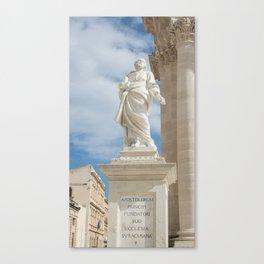 Statue of St. Peter Ortigia Canvas Print