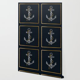 Anchor in Gold and Silver Wallpaper