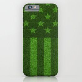 The grass and stripes / 3D render of USA flag grown from grass iPhone Case