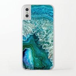 Aqua turquoise agate mineral gem stone- Beautiful Backdrop Clear iPhone Case