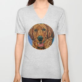 Coper the Golden Retriever Dog Portrait Unisex V-Neck