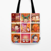 klaine Tote Bags featuring Sweet Autumn by Sunshunes