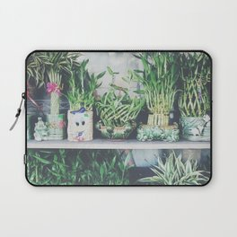green bamboo plant in the vase pattern background Laptop Sleeve