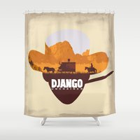 django Shower Curtains featuring Django Unchained by TxzDesign