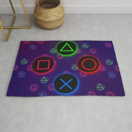 Let's Play! Neon PS4 Controller Buttons Rug