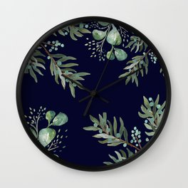 Winter Branches and Juniper Berries on Winter Blue Wall Clock