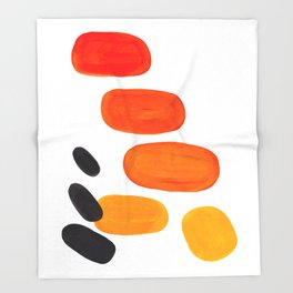 Mid Century Modern Colorful Minimal Pop Art Yellow Orange Ombre Rainbow Gradient Pebble Ovals Throw Blanket