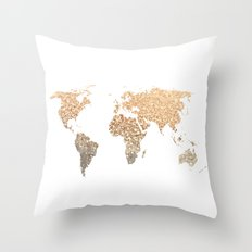 GOLD WORLD MAP Throw Pillow