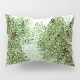 Pine Trees Christmas Forest Landscape Watercolor Pillow Sham