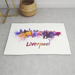 Liverpool skyline in watercolor Rug