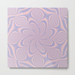 Whirly Bloom Fractal in Rose Quartz and Serenity Metal Print