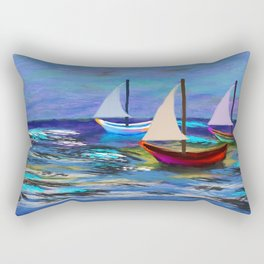Seascape Boats Painting Impressionism Blue Ocean Art Rectangular Pillow