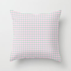 Gingham pink and forest green Throw Pillow
