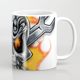 Flaming Skull and Wrenches Coffee Mug