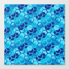 Blue Hexagon Geometric Pattern Canvas Print