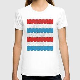 The Sailor - Vintage Nautical Striped Waves RWB T-shirt