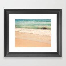 beach. Sea Glass ocean wave photograph.  Framed Art Print