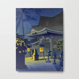 Japanese Woodblock Print Vintage Asian Art Colorful woodblock prints Shrine At Night Lantern Metal Print