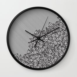 Modern Hand Drawn Foliage Leaves and Stripes Wall Clock