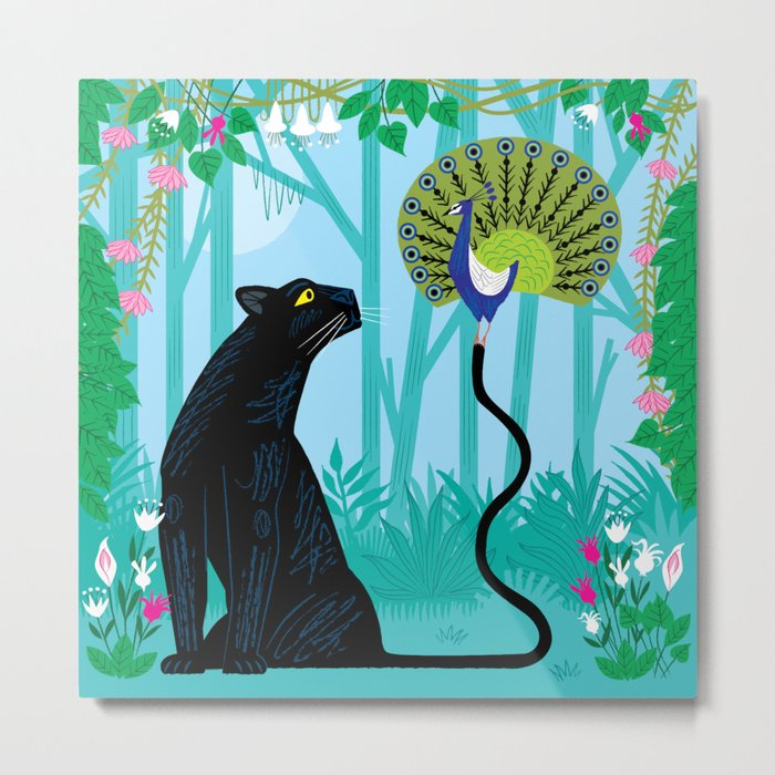 The Peacock and The Panther Metal Print
