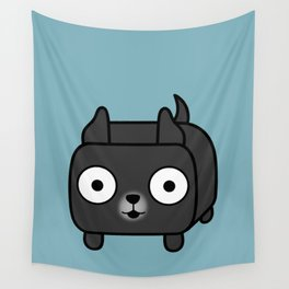 Pitbull Loaf - Black Pit Bull with Cropped Ears Wall Tapestry