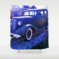 truck Shower Curtains featuring Truck antique.  by Alejandra Triana Muñoz (Alejandra Sweet