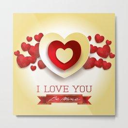 Love heart in yellow Metal Print