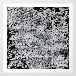 BRICK TEXTURE ABSTRACT BLACK WHITE PAINTING Art Print