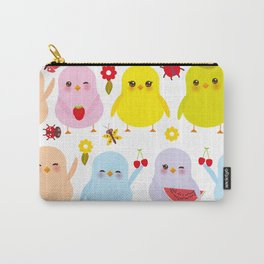 Kawaii colorful blue green orange pink yellow chick Carry-All Pouch
