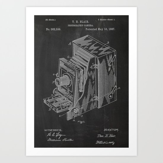 Photographic Camera Patent Art Print