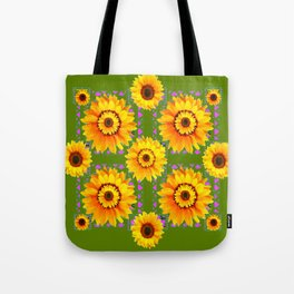 GEOMETRIC SUNFLOWERS AVOCADO-GREEN ART Tote Bag