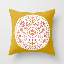 mustard illustration Throw Pillow