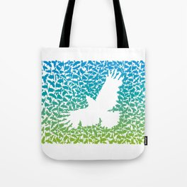 Crow from a flock of flying crows Tote Bag