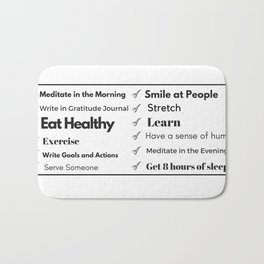 Daily Intention Check List for Healthy Living Bath Mat