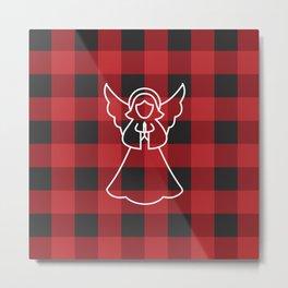 Christmas Angel With Buffalo Check Metal Print