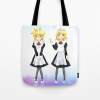 vocaloid Tote Bags featuring Kagamine Twins by Amber Steel