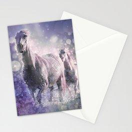 Blue Wild Horses Mixed Media Art Stationery Cards