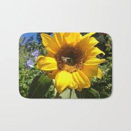 Bee on sunflower Bath Mat