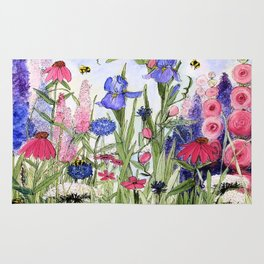 Colorful Garden Flower Acrylic Painting Rug
