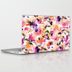 Chic Floral Pattern Pink Orange Pastel Watercolor Laptop & iPad Skin