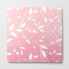 FLOWERY VINES | pink white Metal Print