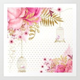 Modern Glam Chic Flowers Art Print