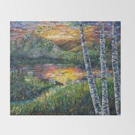 Sleeping Meadow (palette knife) Throw Blanket