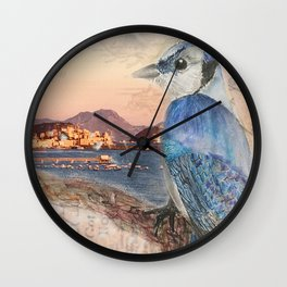 Bird Watching Over Tyrrhenian Sea Wall Clock