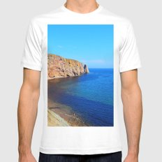 Perce Rock at Low Tide White MEDIUM Mens Fitted Tee