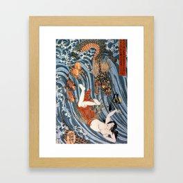 Tamatori being pursued by a dragon Framed Art Print