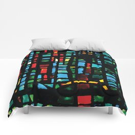 Stained Glass - Colorful Multi-Color Glass Design Comforters