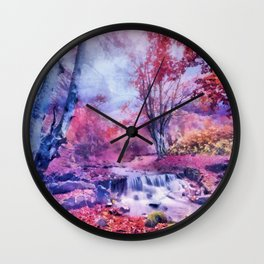 Waterfall in colorful autumn forest Wall Clock